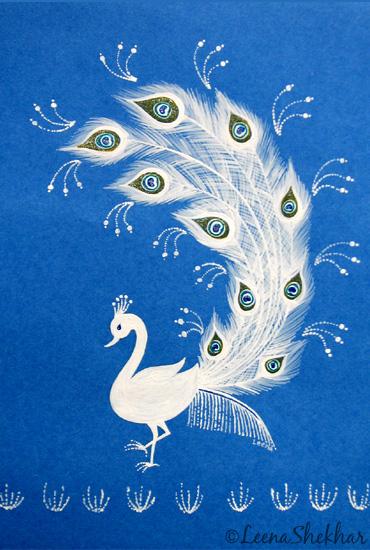 Blue Peacock in Warli